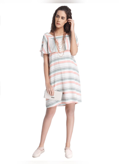 White Striped Ruffle Dress