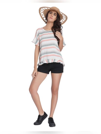 White Striped Flared Top