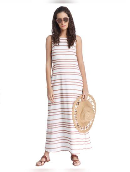 White Horizontal Striped Maxi Dress