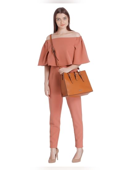 Rust Off Shoulder Jumpsuit
