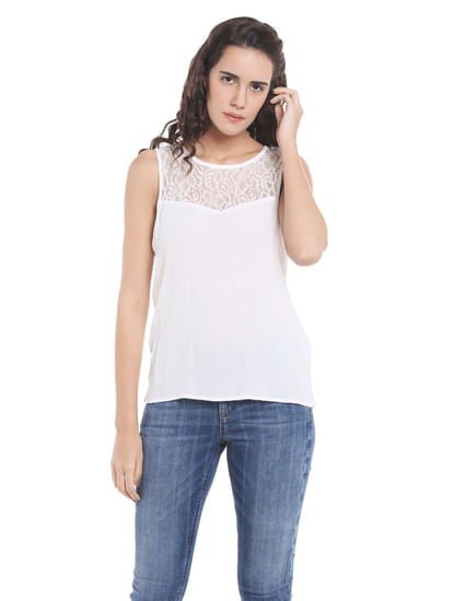 White Lace Insert Top