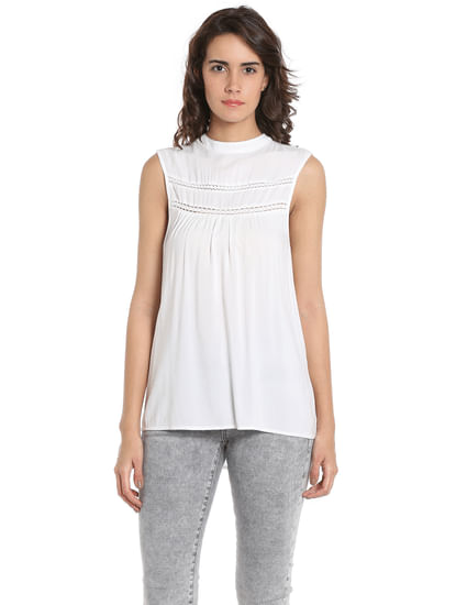 White Lace Detail Sleeveless Top