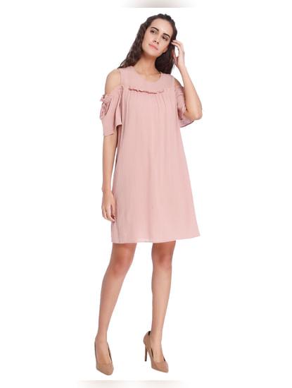 Pink Cold Shoulder Sheath Dress