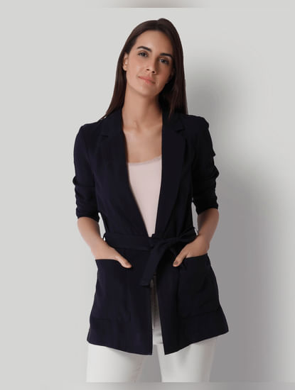 Dark Blue Tie Up Blazer