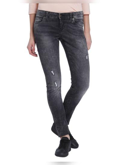 Grey Low Waist Super Slim Jeans
