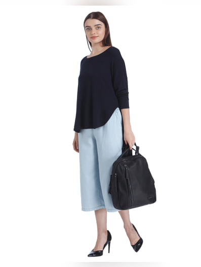 Dark Blue High Low Knit Sweater