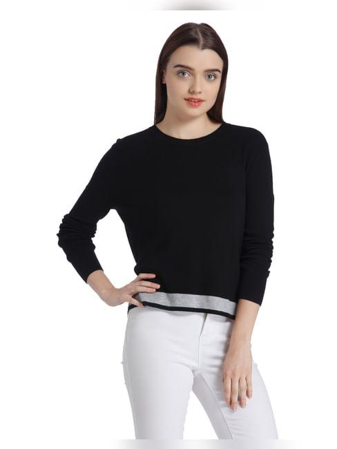 Black Split Back Sweater