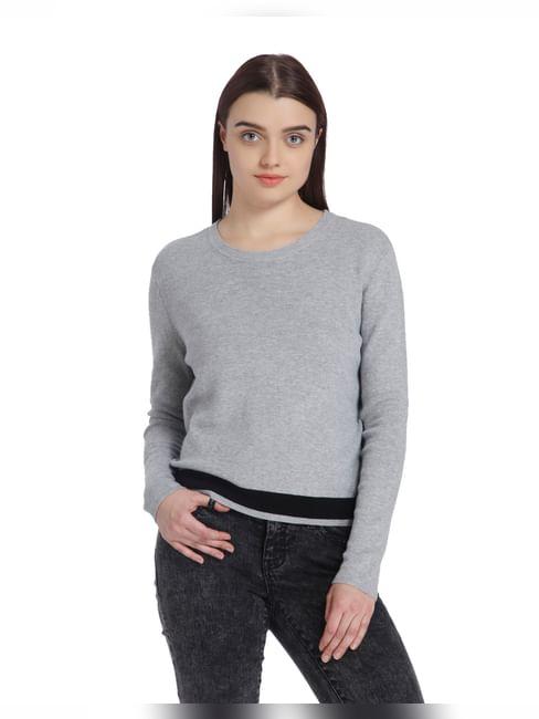 Light Grey Split Back Sweater