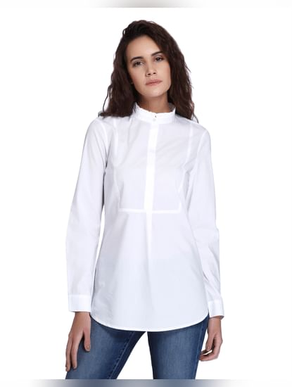 White Ruffled Collar Shirt