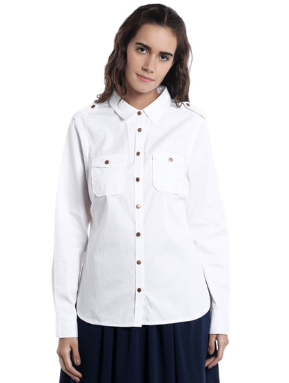 White Metal Buttons Shirt