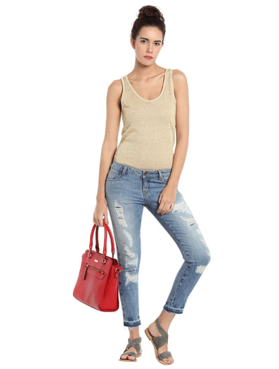 Light Blue Distressed Low Waist Straight Fit Jeans