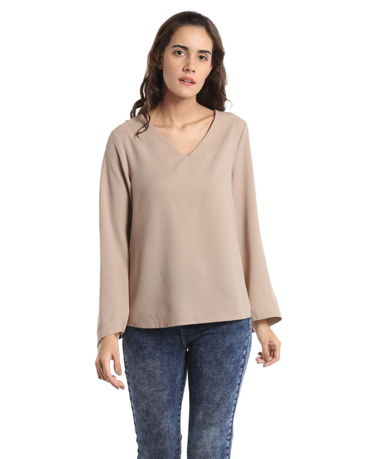Beige Flared Sleeves Top