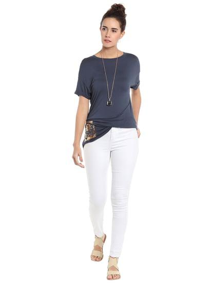 Blue Side Pocket Detail T-Shirt