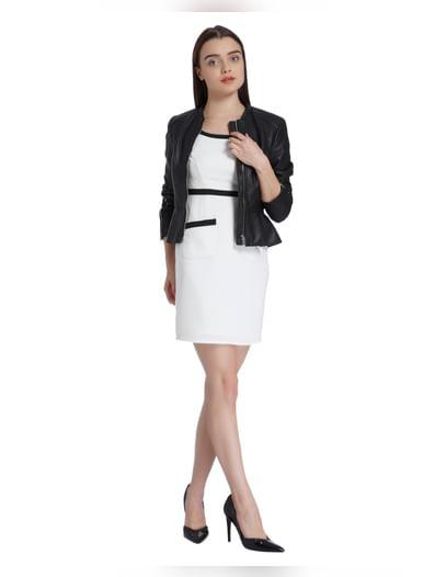 White Cap Sleeves Mini Dress