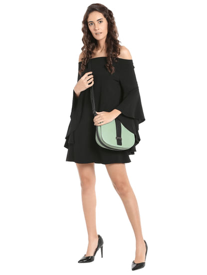 Black Off Shoulder Flared Sleeves Mini Dress