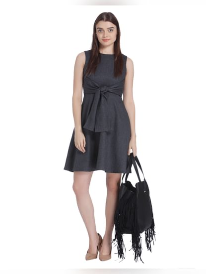 Dark Grey Front Knot Skater Dress