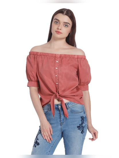 Rust Off Shoulder Tie Up Shirt