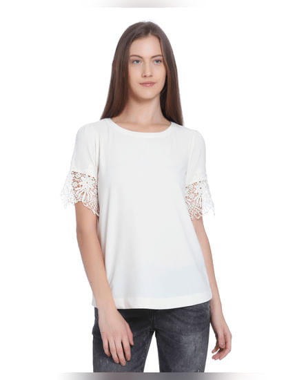 Off White Lace Detail Top