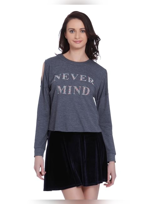 Blue Slogan Print Cold Shoulder Sweater