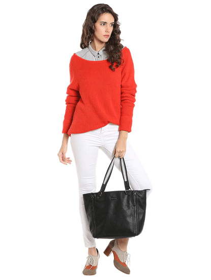 Bright Orange Open Shoulder Knit Sweater