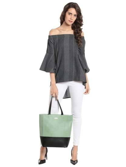 Printed Black Off Shoulder Asymmetrical Top