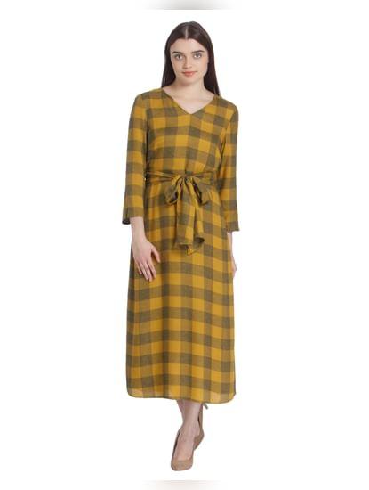Yellow Self Tie Check Midi Dress