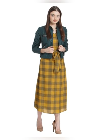Yellow Self Tie Check Midi Dress