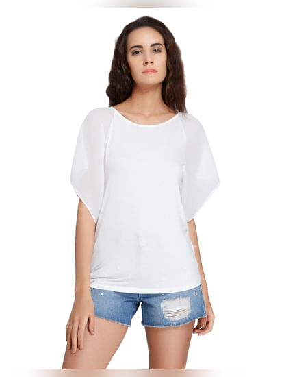 White Pleated Sleeves Top