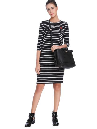 Black Striped Bodycon Dress