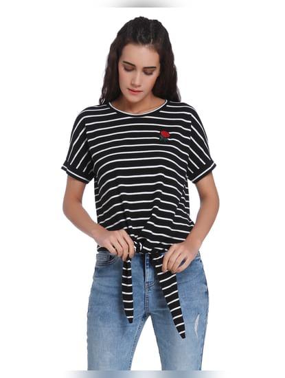 Black Striped Front Tie T-Shirt