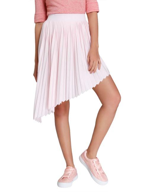Pink Asymmetrical Pleated Skirt