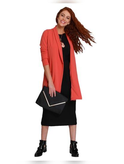 Orange Asymmetrical Long Blazer