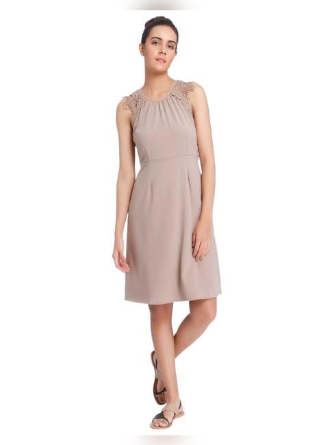 Nude Lace Detail Shift Dress