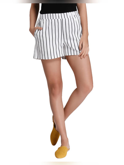 White Striped Shorts