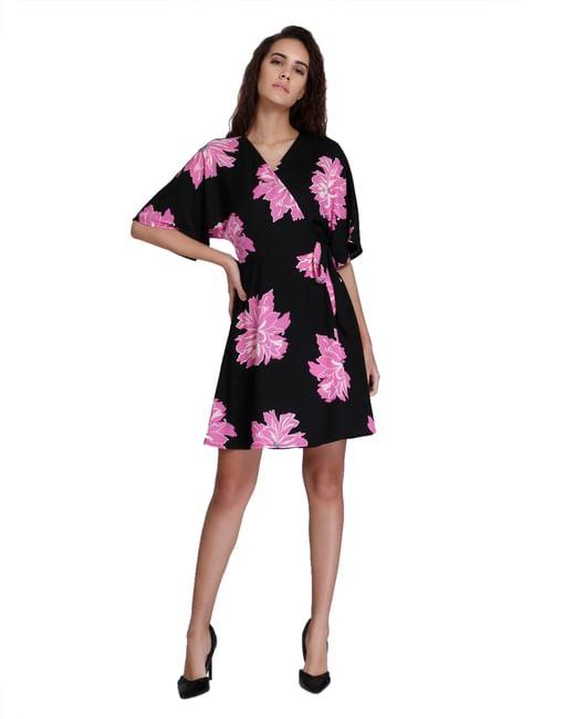 Black Floral Print Wrap Mini Dress