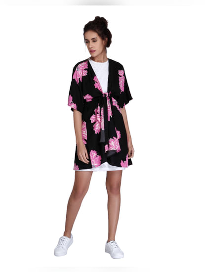 Black Floral Print Wrap Mini Dress