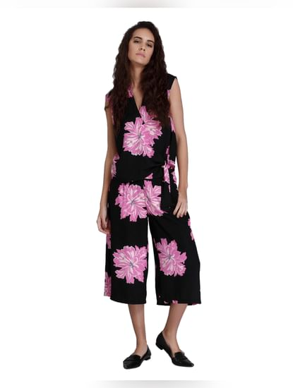 Black Floral Print Wrap Top