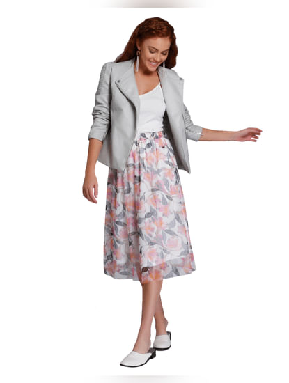 Off White Printed Midi Skirt