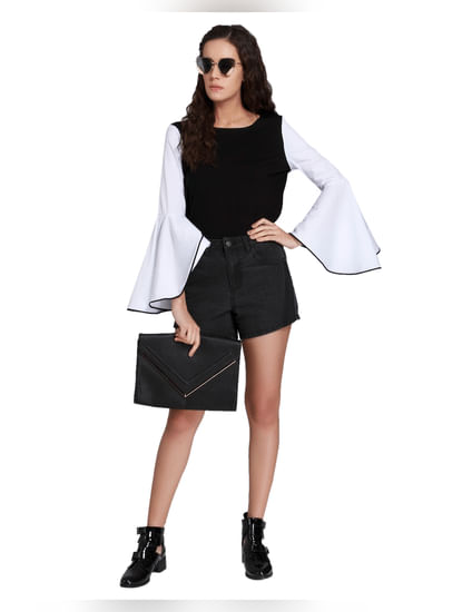 Black & White Flared Sleeves Top
