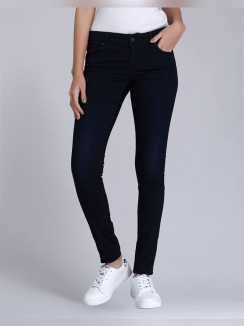 Dark Blue Low Rise Slim Fit Jeans