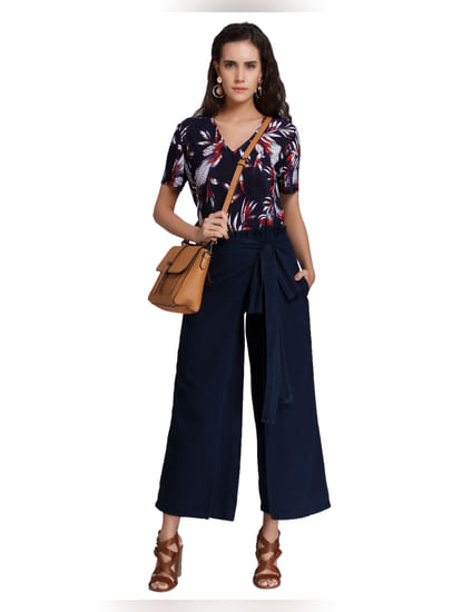 Dark Blue Mid Waist Loose Fit Flared Jeans