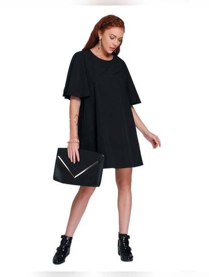 Black Flared Sleeves Swing Dress
