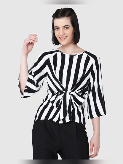 Black And White Striped Front Tie Top