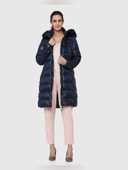 Dark Blue Faux Fur Hooded Long Bomber Jacket