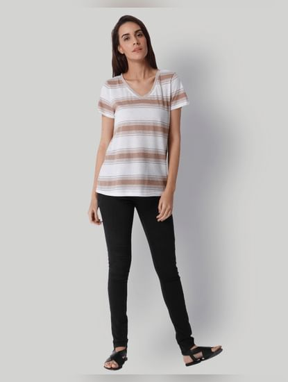 White Striped V-Neck Top