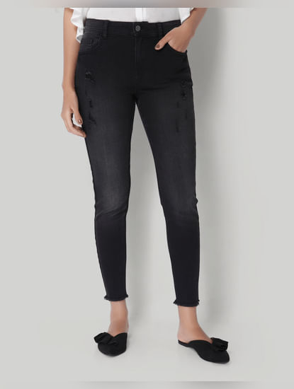 Black Distressed Mid Rise Skinny Fit Jeans