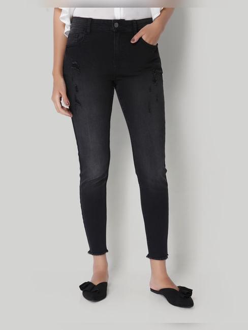 Black Distressed Mid Rise Skinny Fit Jeans