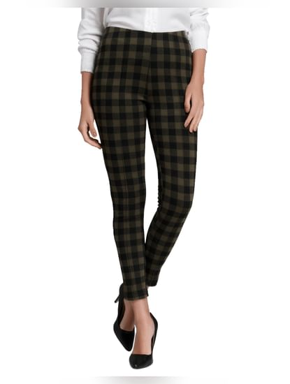 Olive Green Check Mid Rise Skinny Fit Leggings