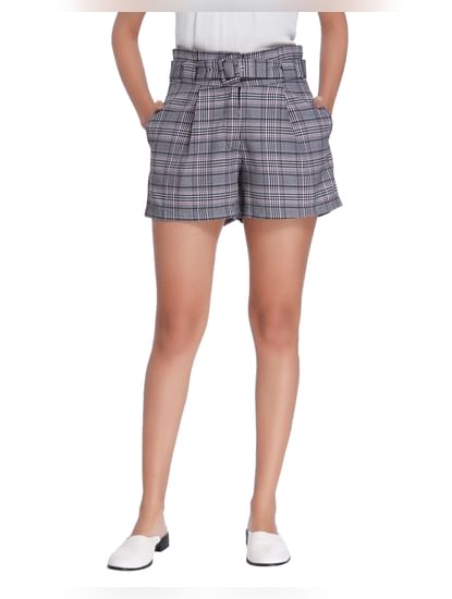 Grey Plaid High Waist Belted Shorts