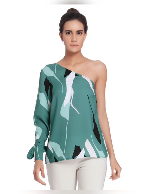 Green One Shoulder Printed Top